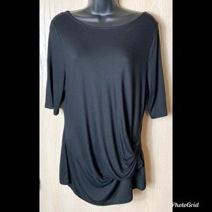 Tahari Black Top with Faux Knot Waist Sz L EUC